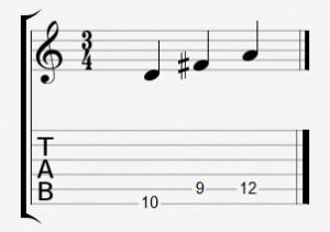 Die Töne eines D-Dur-Dreiklangs