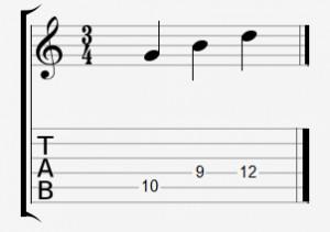 Die Töne eines G-Dur-Dreiklangs